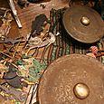Wayang Kali puppets and instruments